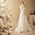 High Collar Wedding Formal Dress Beaded Capped Hollow Bridal Gowns D2015660