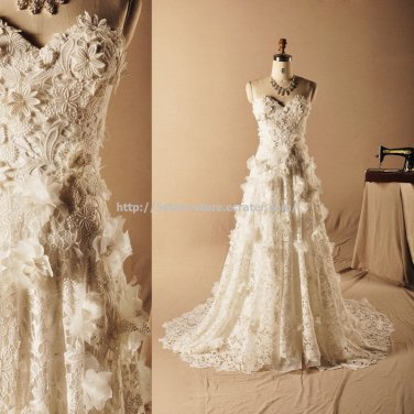 Sweetheart Bridal Gown Strapless Sleeveless Appliqued Flowers Wedding Dresses D2015665