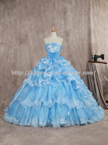 Scalloped Blue Bridal Dress Sleeveless Sequined Multilayer Wedding Dress Gown D2015670
