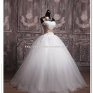 Strapless Wedding Dress Appliqued Lace A-Line Bridal Dress Gown D2015689