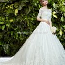 Bateau Bridal Dress 1/2 Sleeves Lace  A-Line Cathedral Train Wedding Gown D2015699