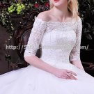 Bateau A-Line Dresses 1/2 Sleeves Embroodery Lace Cathedral Train Wedding Gown D2015710