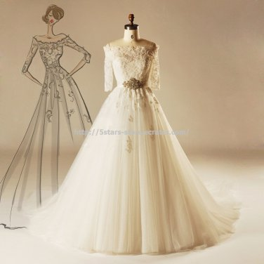 Lace Bateau Bridal Dresses 1/2 Sleeves Covered Button  Chapel Train Wedding Gown D2015712
