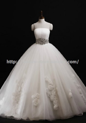 Strapless Wedding Gown Crystal belt Lace with Flower Wedding Ball Gown D2015735