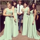 Long Bridesmaid Dresses SAGE Green Chiffon A-line V-neck Corset Wedding Party Dress MB145