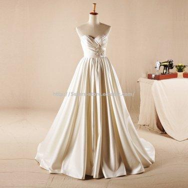 Sweetheart Foid Wedding Dress Sleeveless Dress Sweep Train Bridal Gown D2015759