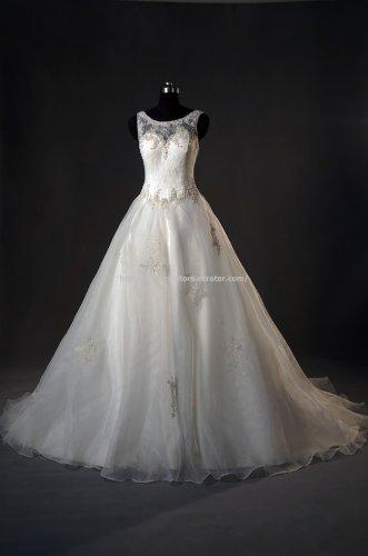 Scoop Bridal Dress V-Neck Back Lace Sweep-Train Wedding Dresses D2015761
