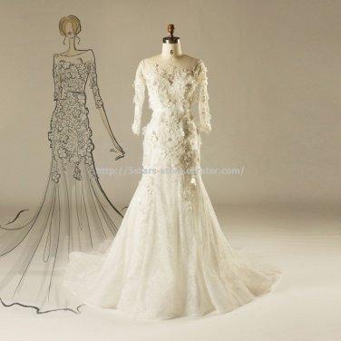Scoop Wedding Dress 12 Sleeves Dress Appliqued Sweep Train Bridal Dresses D2015764