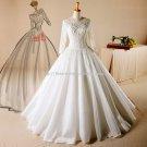 Scoop Lace Bridal Dresses 12 Sleeves Poet Dress Princess Zipper Wedding Dress D2015765