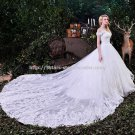 Strapless Bridal Dress Off-Shoulder Lace Monarch-Train Wedding Gown D2015766