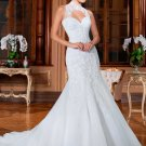 High Neck Sheer Mermaid Wedding Dresses Backless Lace Court Train Bridal Dresses D2015783