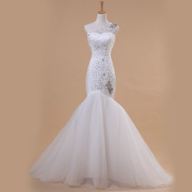 Sweetheart Wedding Dress One Shoulder Mermaid Actual Dress Obliqued Bride Gown D2015811