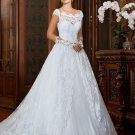 Scoop Neck Bridal Dress Short Sleeves A Line Lace Dress Princess Bride Wedding Gowns D2015826