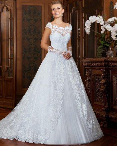 Scoop Neck Bridal Dress Short Sleeves A Line Lace Dress Princess Bride Wedding Gowns D2015826