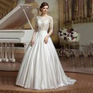 See Though Top White Lace Bridal Dress Long Sleeves Open Back Ball Gown Wedding Dresses D2015829