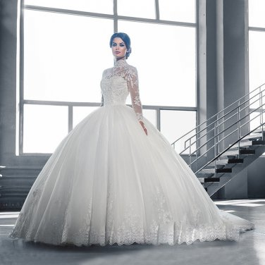High Neck IIIusion Back Dress Long Sleeve Wedding Dress Lace Ball Gown Wedding Gowns D2015830