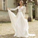 V-Neck Lace Long Sleeve Wedding Dress Crystal Beading Belt Zipper Back Chiffon Bridal Dress D2015832