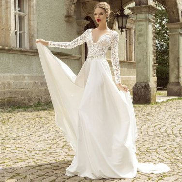 V-Neck Lace Long Sleeve Wedding Dress Crystal Beading Belt Zipper Back Chiffon Bridal Dress D2015832