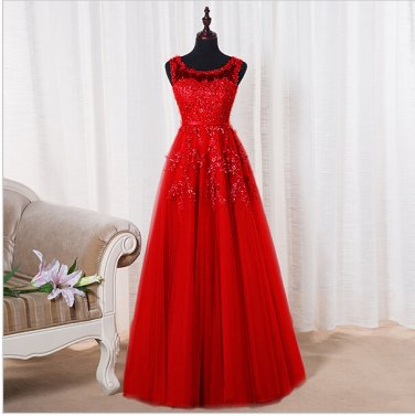 Scoop Sleeveless Dress Sweet Lace Beading Long Bridal Transparent Banquet Sexy Prom Dress D2015843