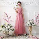 V-Neck Pink Evening Dress Sleeveless Sweet Flowers Appliques Tulle Party Dress D2015844