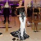 Strapless Evening Dresses Mermaid Long Sleeve Zipper Back Applique Lace Formal Prom Dress D2015846