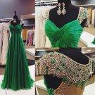 Sweetheart Wedding Dress Cap Sleeve Hollow Back Green Prom Dress Gown D2015848