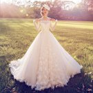 Off-Shoulder Wedding Dress Long Sleeve Monarch-Train Bridal Dresses D2015849