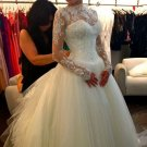High Neck Bridal Dress Long Sleeve Lace Wedding Dress Ball Gown Wedding Gown D2015858