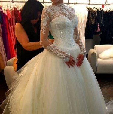 High Neck Bridal Dress Long Sleeve Lace Wedding Dress Ball Gown Wedding Gown D2015858
