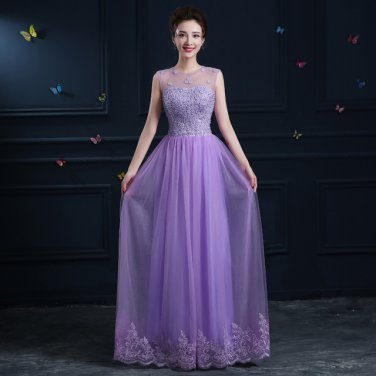 Jewel Evening Dress Long Design One-Piece Appliqued Lace Up Prom Dress D2015867