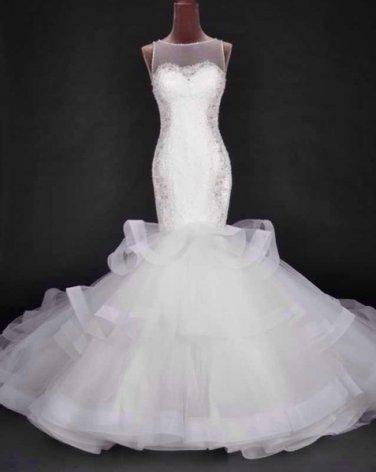 O-Neck Bridal Dresses Lace Buttom Transparent Back Wedding Dress D2015922