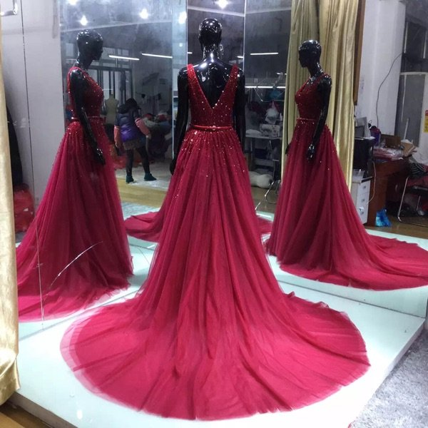 V-Neck A-line Wedding Party Gown Chiffon Beading Pleated Mother Of The Bride Dresses D2015904