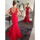 Lace V Neck Evening Dress Open Back Mermaid Long Prom Dresses D2015924