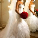 Sweetheart Mermaid Wedding Dresses Ruffled Tulle Appliques Lace Wedding Gowns D2015925