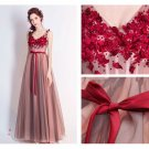 V-Neck Long Evening Dress Beaded Pleat A-line Chiffon Mother of the Bride Dresses D2015889
