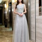 Long Bridesmaid Dresses Silver A-line V-neck Corset Wedding Party Dress MB2018