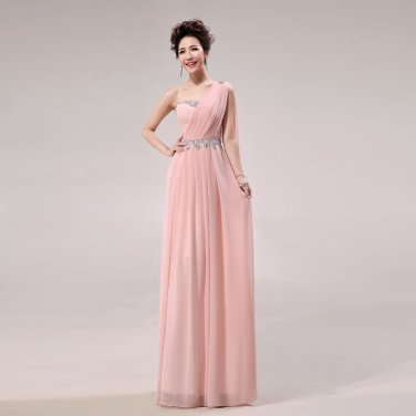Long Bridesmaid Dresses Pink A-line Corset One Shoulder Wedding Party Dress MB20183