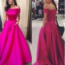Off Shoulder Party Gowns Long Fuchsia Satin Prom Evening Dresses 2018 New