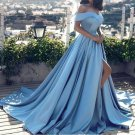 Off Shoulder Party Gowns Long Blue Satin Split Sexy Prom Evening Dresses 2018