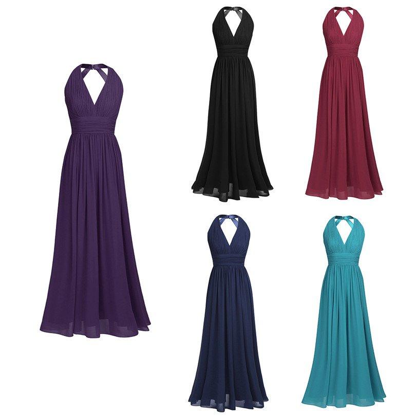 ade86265b265 Long Bridesmaid Dresses Coral Blue Purple Wine A-line Halter Chiffon Wedding  Party Dress