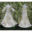 MUSEUM QUALITY VINTAGE 1930s RAYON Nightgown n Peignoir Set RARE FLORAL SATIN Long FLOOR LENGTH S/M!