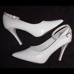 "HOT SHINY WHITE Shoes FREDERICK'S of HOLLYWOOD 4 1/2"" High Heels STRAPPY STILETTO Pumps Size 12!"
