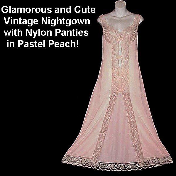 Adorable Vintage Nightgown Panties Set Floor Length Pastel Peach Nylon Sweet Sexy Sweep 32/34-S/M!