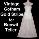 ROMANTIC Floor Length VINTAGE Nightgown ELEGANT 100% Nylon IVORY WHITE by GOTHAM GOLDSTRIPE 32/S!