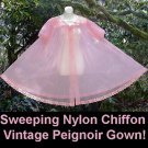 FLUFFY PRINCESS Vintage Peignoir Robe SHEER NYLON CHIFFON Dressing Gown Peachy Pink Sissy 34-40 M-L!
