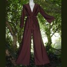 DARK CHOCOLATE Vintage Lounge Set 2-Pc NYLON STYLISH Top and Bell Bottoms DRESS UP or DOWN Sz 10-M!