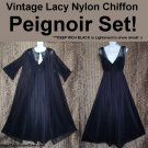 ELEGANT BLACK Vintage PEIGNOIR NIGHTGOWN Set Sheer CHIFFON Long FLOOR LENGTH Nylon LACY Large/L+!