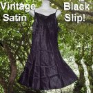 "BLACK BEAUTY SATIN Vintage Slip, Slip Dress or Nightgown SHIMMERY n STUNNING Sz XL 38-42"" Busts!"