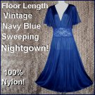 Vintage Nightgown GODDESS BODICE Nylon CHIFFON Lace Long FLOOR LENGTH Deep NAVY BLUE XLarge-1X!