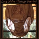 Vintage Panties 100% NYLON Brief Panty Lacy CREAMY MOCHA Full Cut Front/Back Panels Lingerie Sz 6-M!